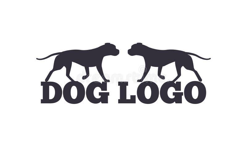 Silhuetas de Logo Design Two Canine Animals do cão ilustração royalty free