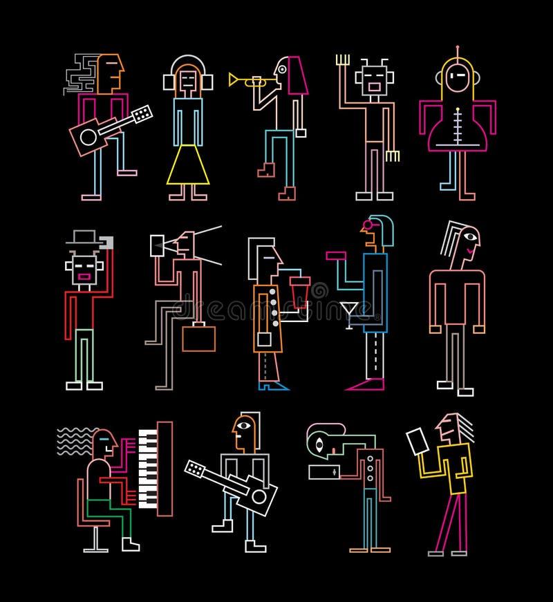 Silhuetas de néon dos povos ilustração do vetor