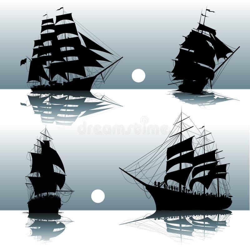 Silhuetas de navios de navigação ilustração royalty free