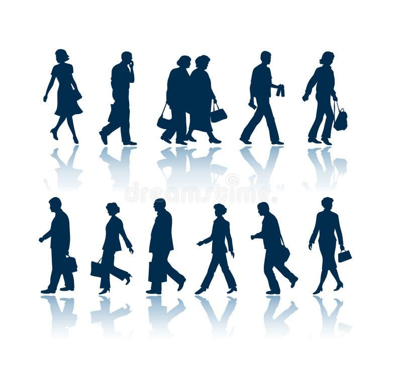 Silhuetas de passeio dos povos ilustração stock