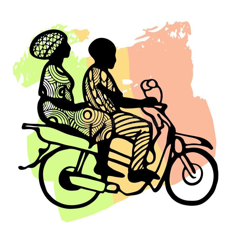 Silhuetas de pessoas negras africanas em uma motocicleta contra uma bandeira tricolor: verde, amarelo, vermelho ilustração royalty free