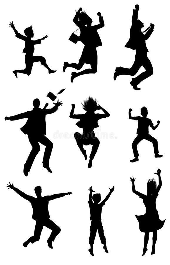 Silhuetas de salto com expressão da felicidade ilustração do vetor