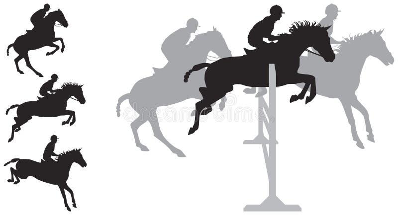 Silhuetas de salto do cavalo ilustração stock