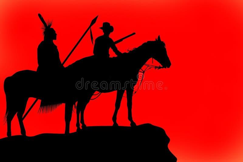 Silhuetas de um cavalo e de cavaleiros ilustração royalty free