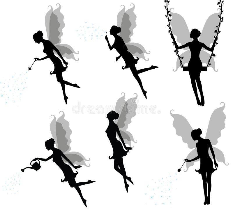 Silhuetas de um fairy. ilustração do vetor