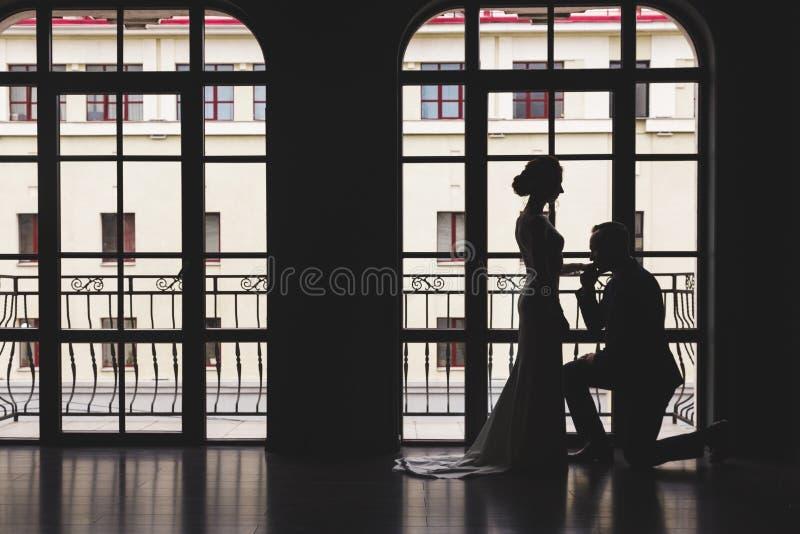 Silhuetas de um homem em um terno e de mulheres em um vestido e com um ramalhete das flores O homem ajoelhou-se para baixo na fre foto de stock
