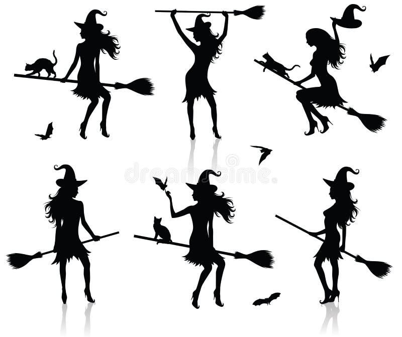 Silhuetas de uma bruxa. ilustração royalty free