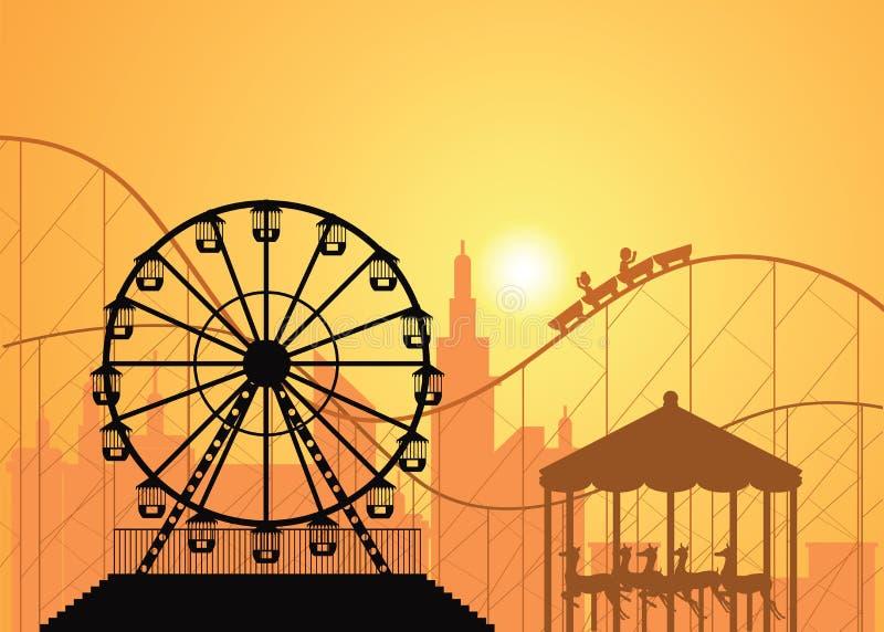 Silhuetas de uma cidade e de um parque de diversões ilustração royalty free