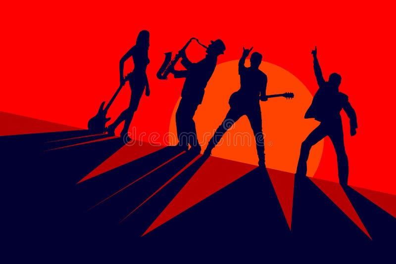 Silhuetas de uma faixa dos músicos em um fundo vermelho ilustração royalty free