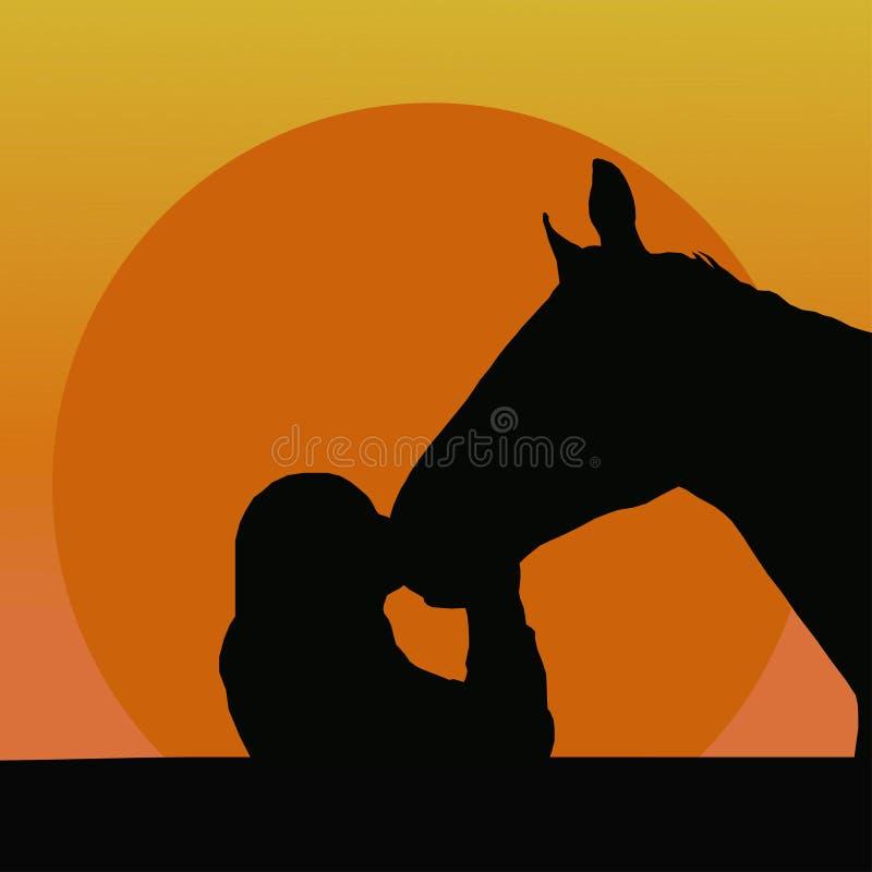 Silhuetas de uma menina que beija um cavalo ilustração stock