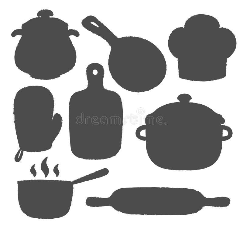 Silhuetas de utensílios e de cozinhar da cozinha ícones das fontes ilustração do vetor