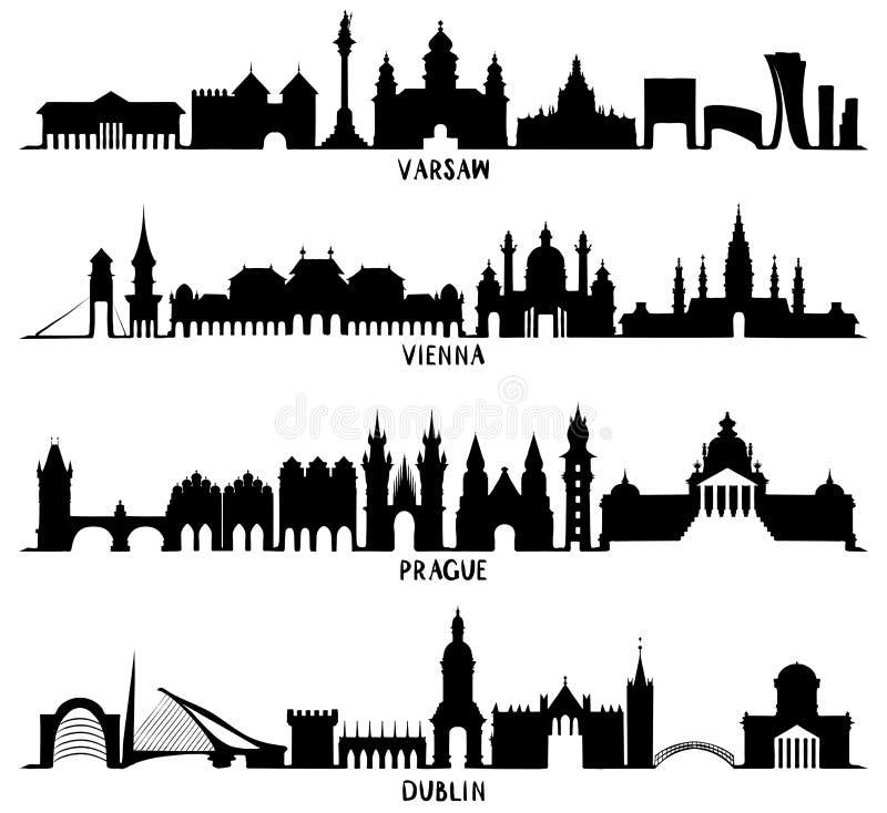Silhuetas de Varsóvia, de Viena, de Praga e de Dublin ilustração stock