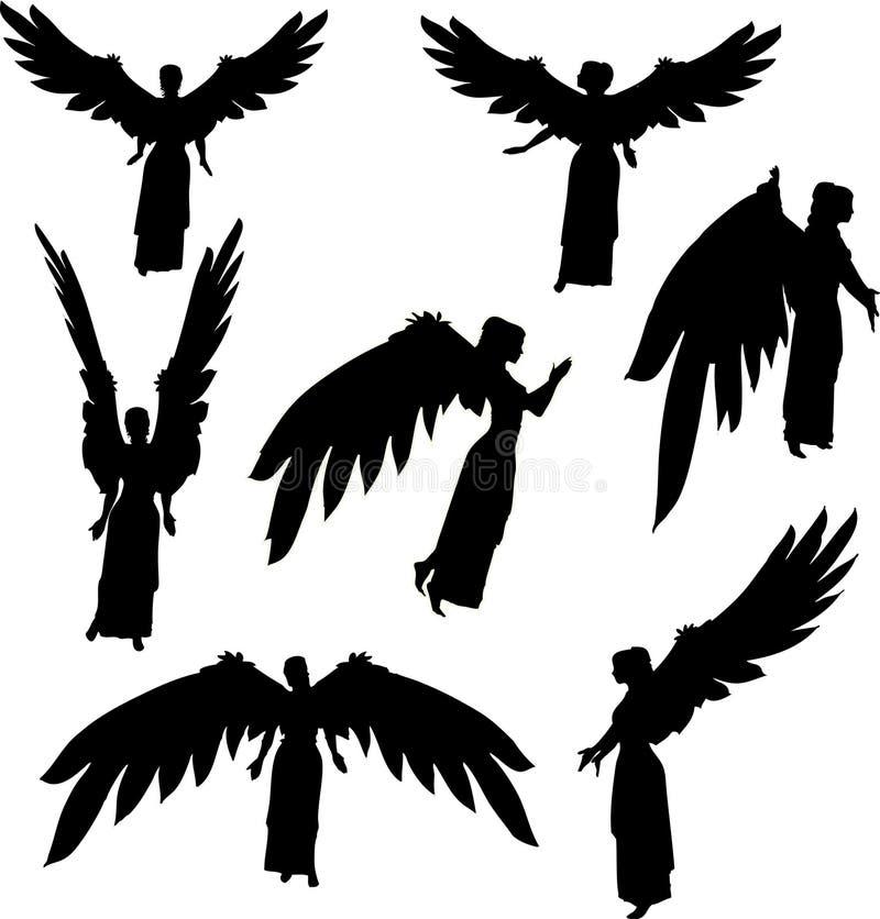 Silhuetas do anjo ilustração do vetor