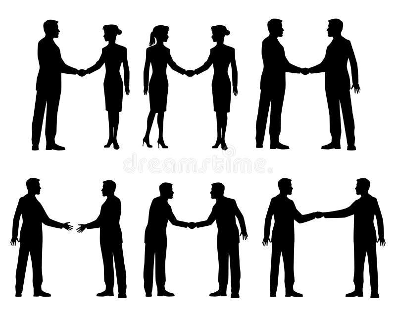 Silhuetas do aperto de mão dos homens de negócios ilustração do vetor