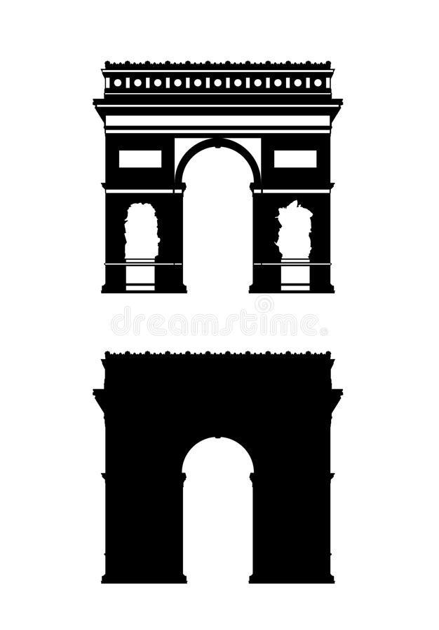 Silhuetas do arco triunfal de Paris ajustadas ilustração stock