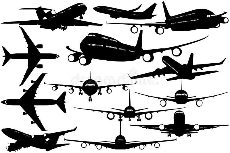 Silhuetas do avião de passageiros do passageiro - aviões ilustração stock