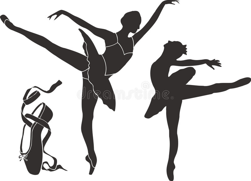 Silhuetas do bailado ilustração royalty free