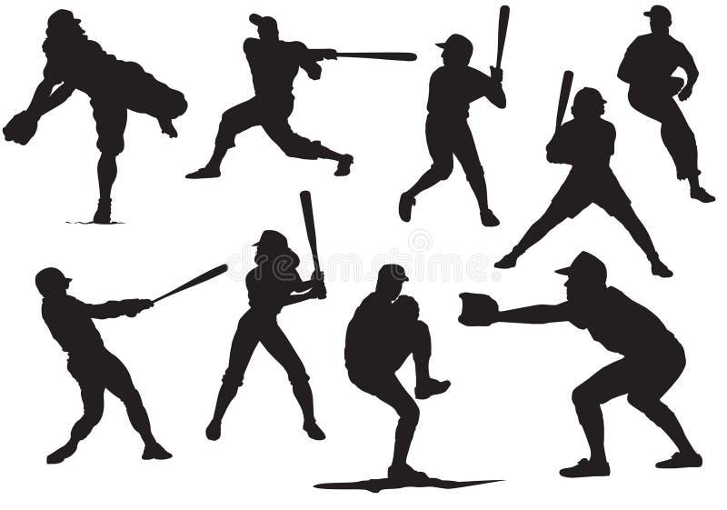 Silhuetas do basebol ilustração do vetor