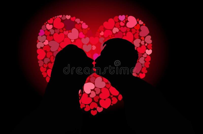 Silhuetas do beijo dos amantes ilustração stock