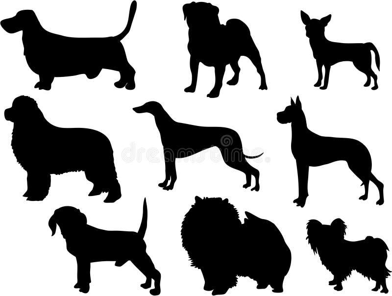 Silhuetas do cão ilustração royalty free
