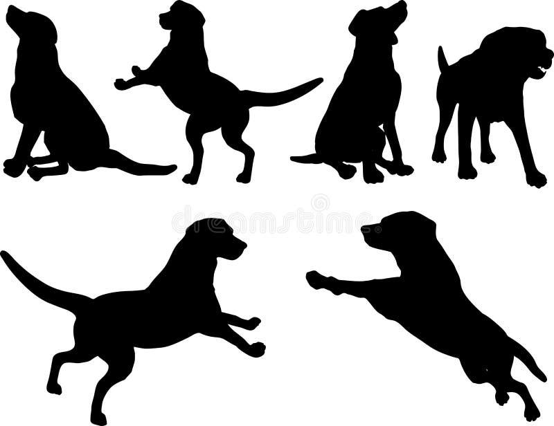 Silhuetas do cão ilustração do vetor