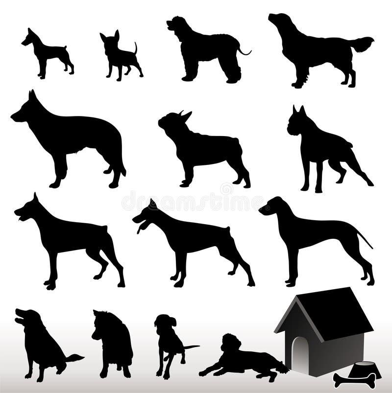 Silhuetas do cão do vetor ilustração stock