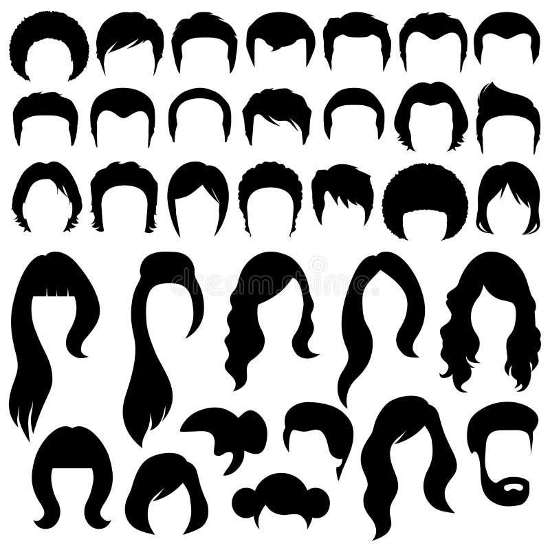 Silhuetas do cabelo ilustração stock