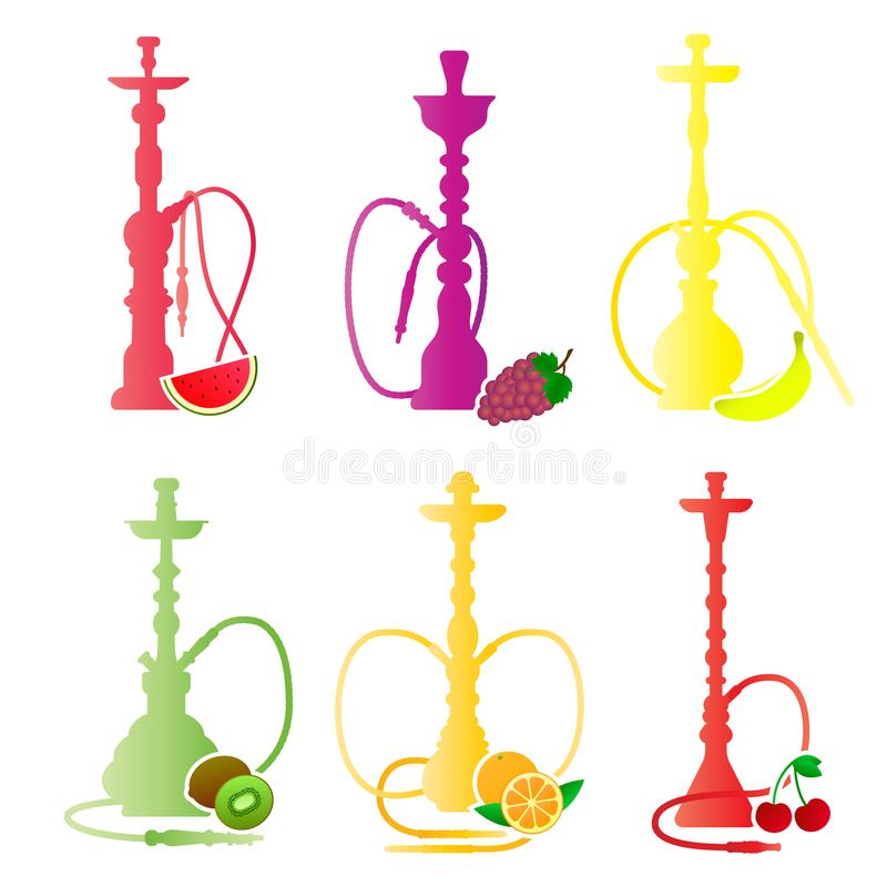 Silhuetas do cachimbo de água com sabores diferentes do fruto Vários aditivos de sabor Ilustração do vetor para o menu do cachimb ilustração do vetor
