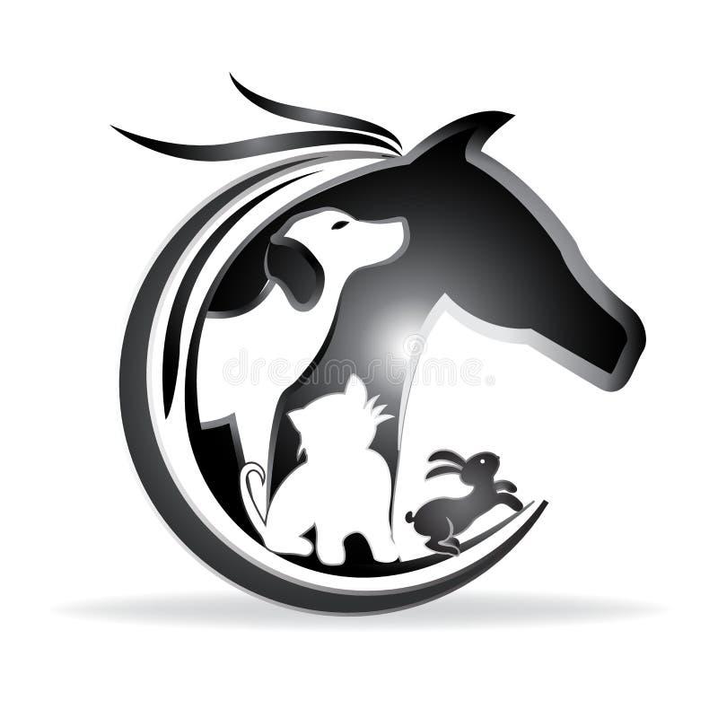Silhuetas do cavalo, do cão, do gato e do coelho do vetor do logotipo ilustração stock