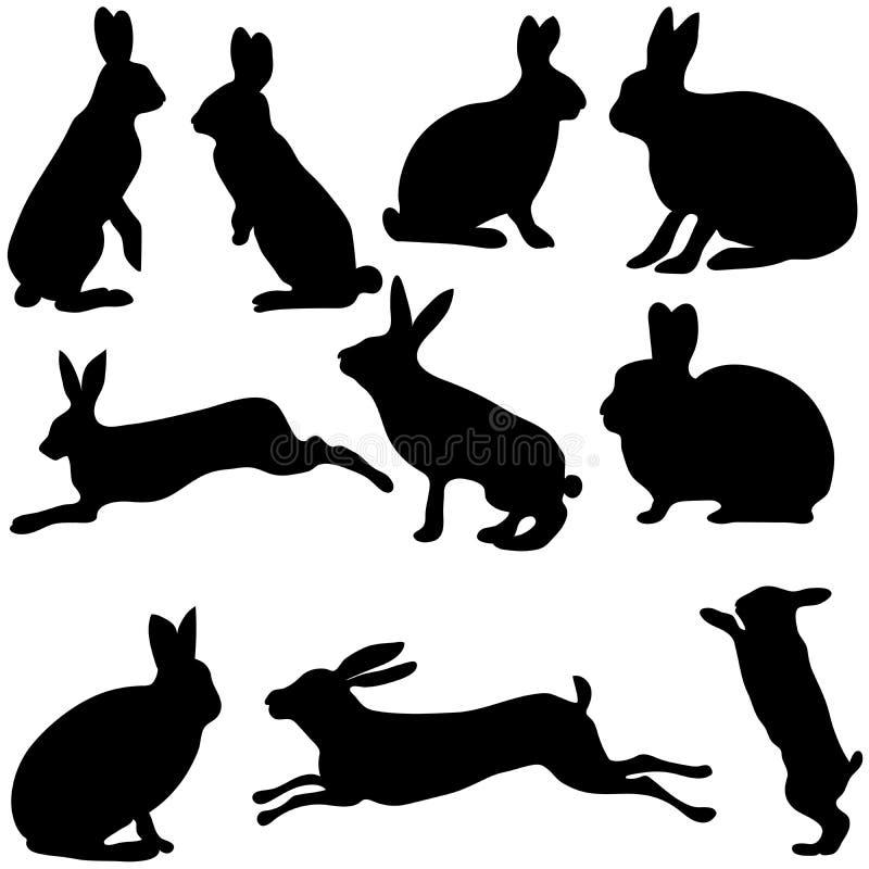Silhuetas do coelho no fundo branco, ilustração do vetor ilustração stock