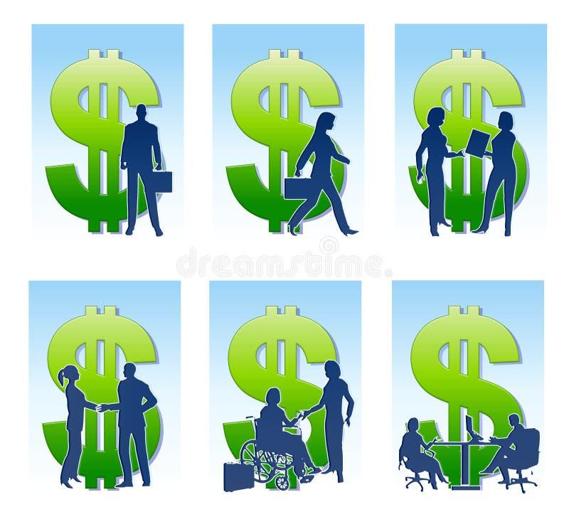 Silhuetas do dinheiro do negócio ilustração stock