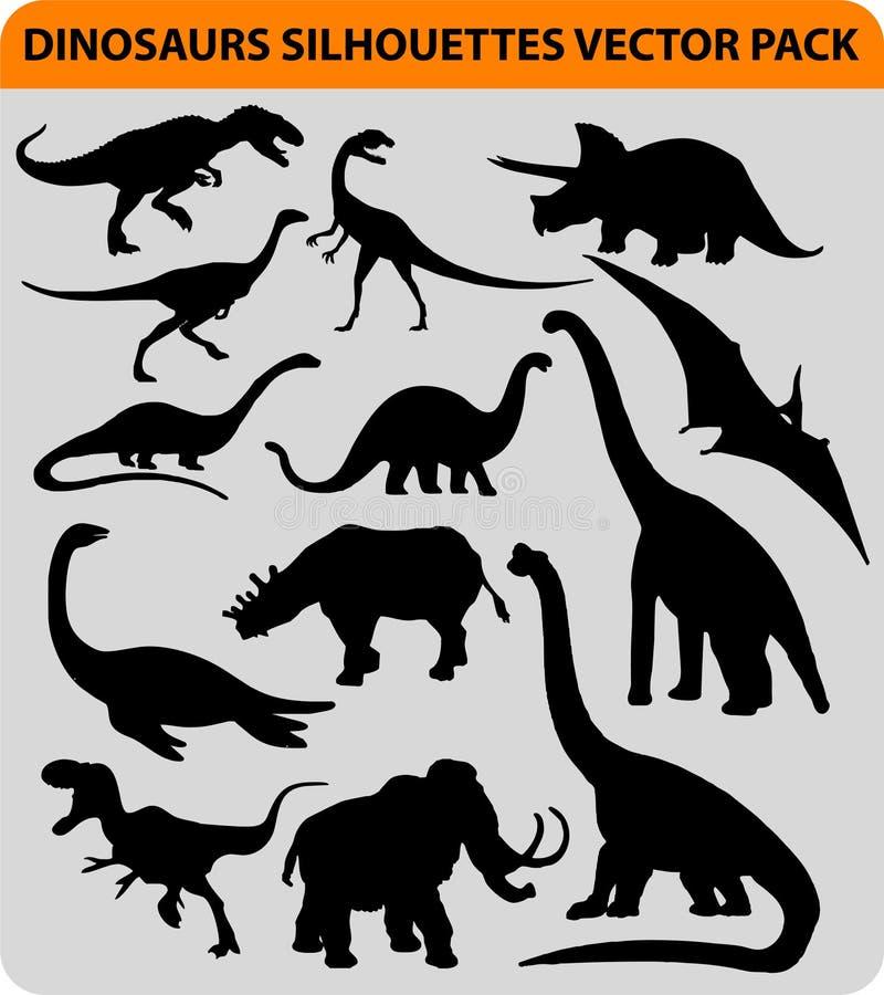 Silhuetas do dinossauro ilustração royalty free