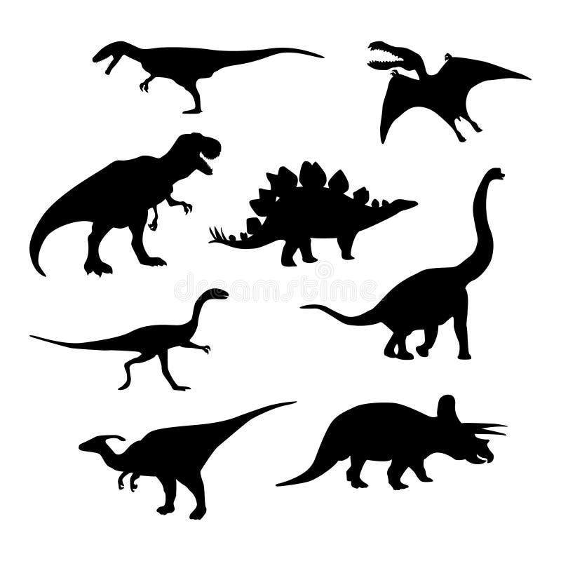 Silhuetas do dinossauro ajustadas Ilustração do vetor isolada no branco ilustração stock