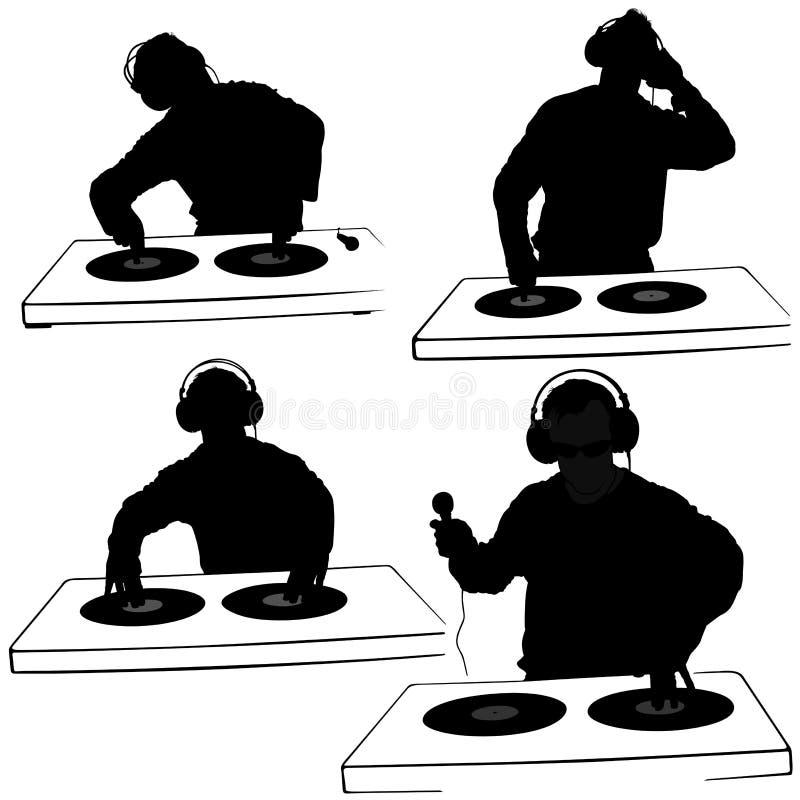 Silhuetas do disco-jóquei ilustração stock