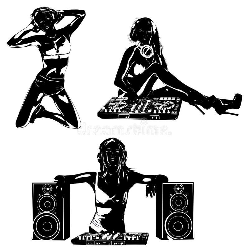 Silhuetas do DJ da mulher ilustração stock