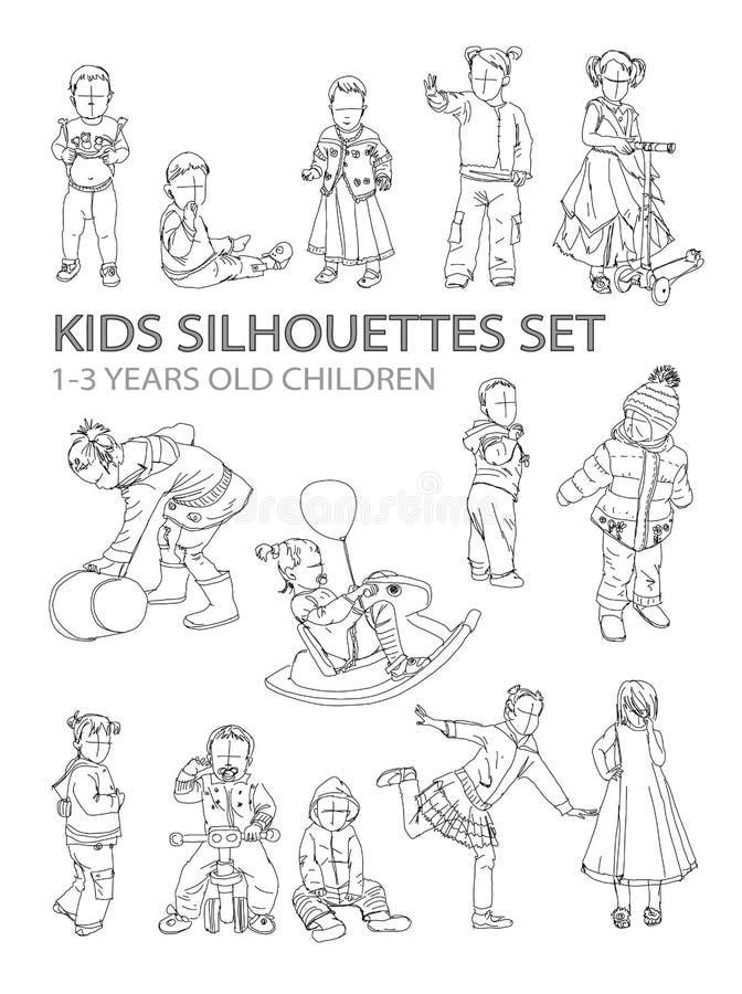 Silhuetas do esboço das crianças ilustração stock