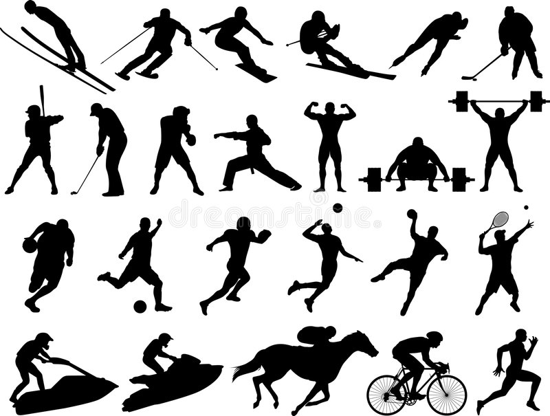 Silhuetas do esporte do vetor ilustração do vetor