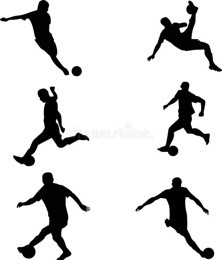 Silhuetas do futebol ilustração royalty free