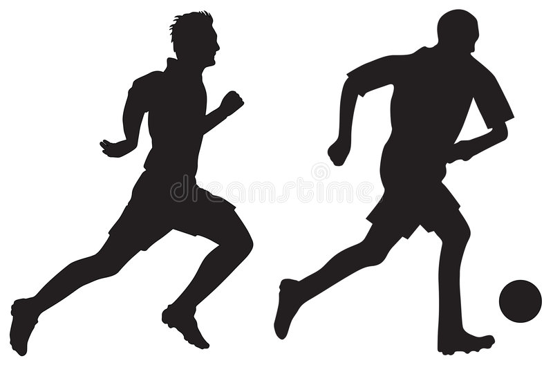 Silhuetas do futebol ilustração do vetor