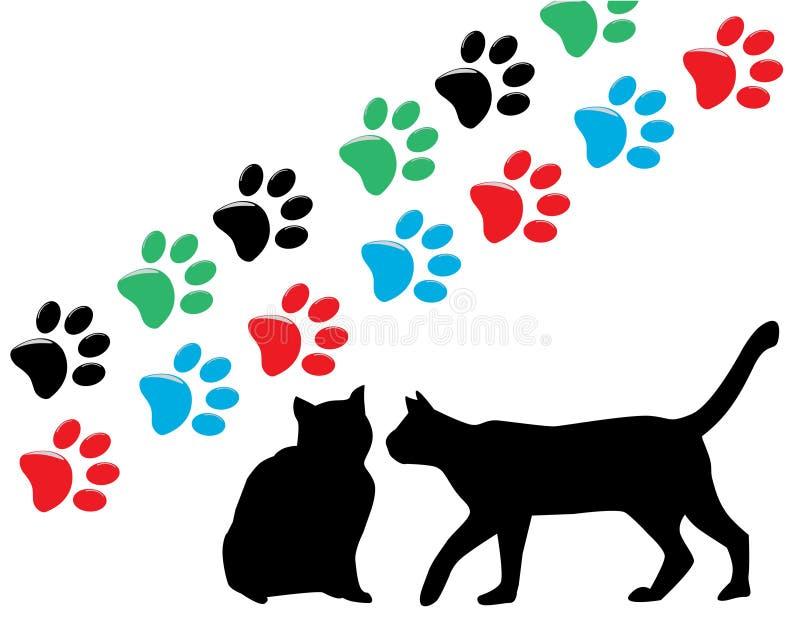 Silhuetas do gato ilustração royalty free