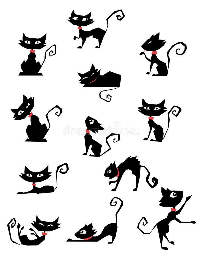 silhuetas do gato preto ilustração royalty free