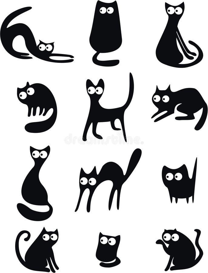 Silhuetas do gato preto ilustração stock