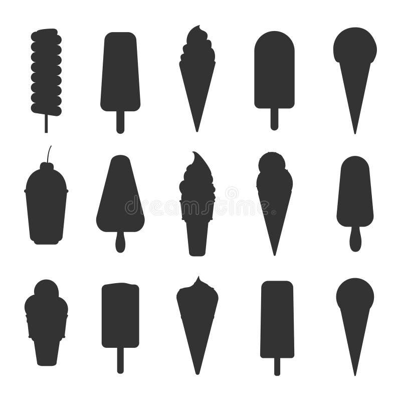 Silhuetas do gelado ilustração do vetor