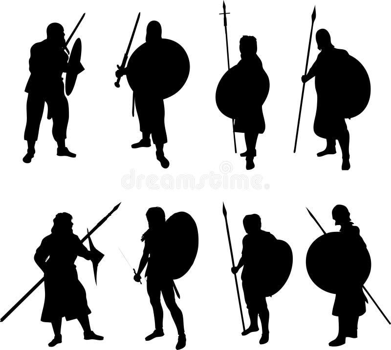 Silhuetas do guerreiro ilustração stock