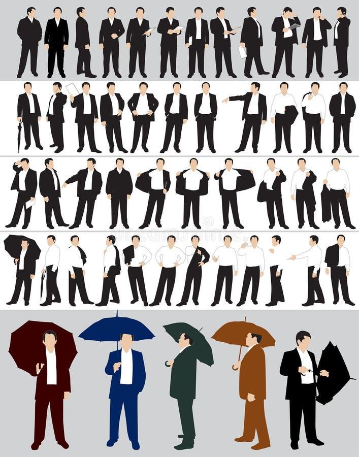 Silhuetas do homem de negócios ilustração royalty free