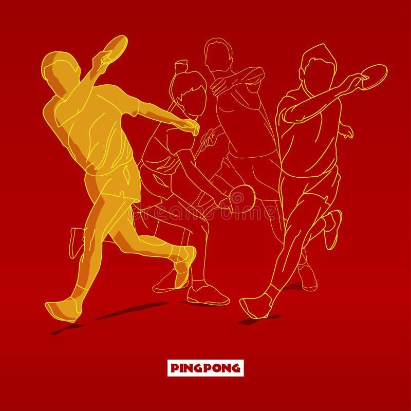 Silhuetas do jogador de tênis que jogam Ping Pong ilustração do vetor