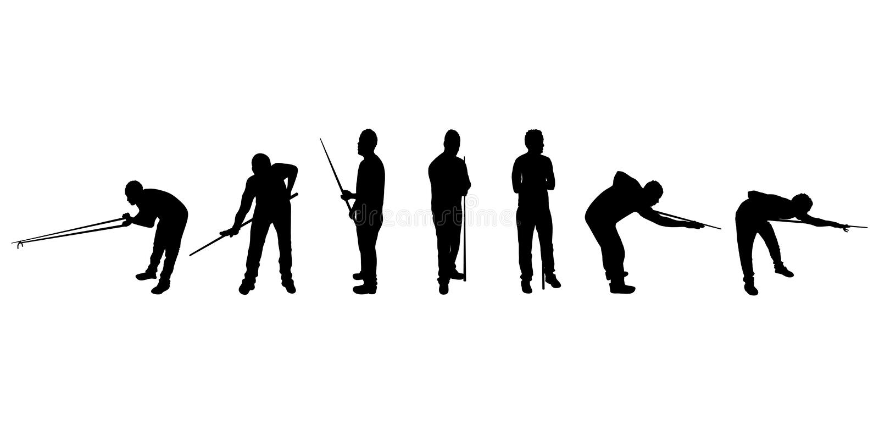 Silhuetas do jogador do Snooker ilustração do vetor