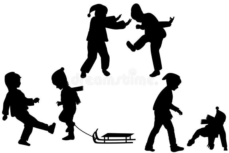 Silhuetas do jogo das crianças ilustração stock