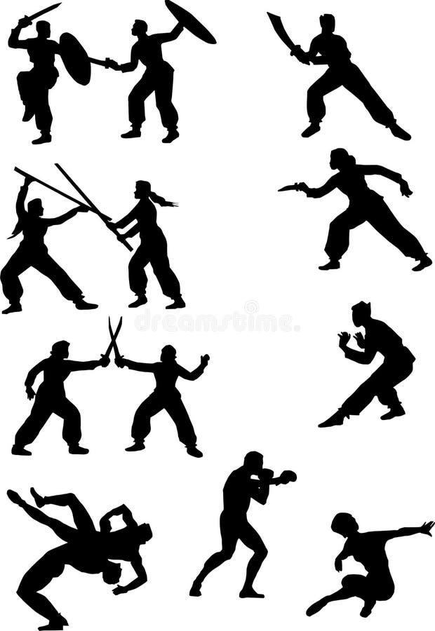 Silhuetas do lutador ilustração stock