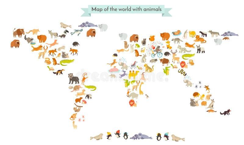 Silhuetas do mapa do mamífero do mundo Mapa do mundo dos animais No fundo branco ilustração stock